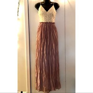 Lavender Lace Backless Maxi Dress